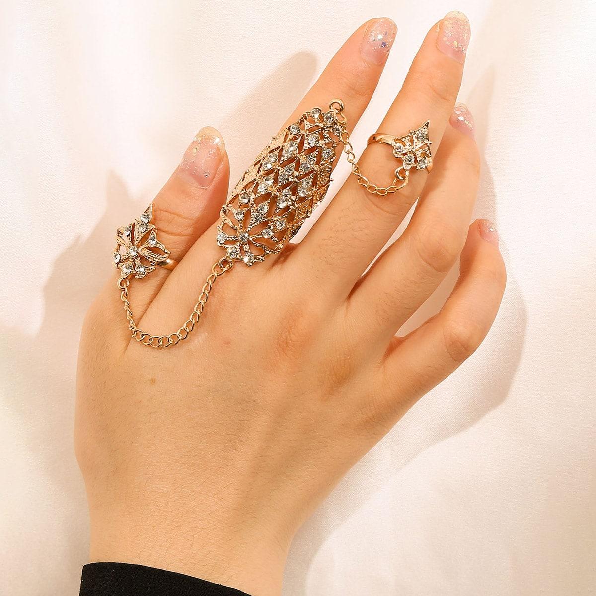 Кольцо со стразами варежки от SHEIN