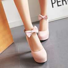 Bow Decor Ankle Strap Ultra High Heeled Pumps