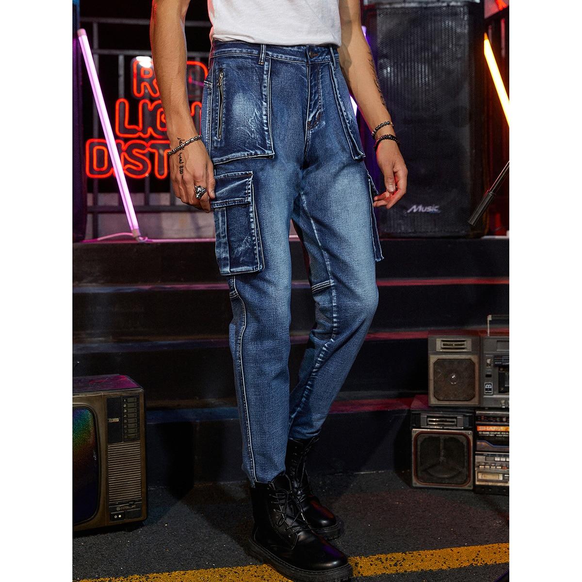 Men Zipper Detail Flap Pocket Jeans