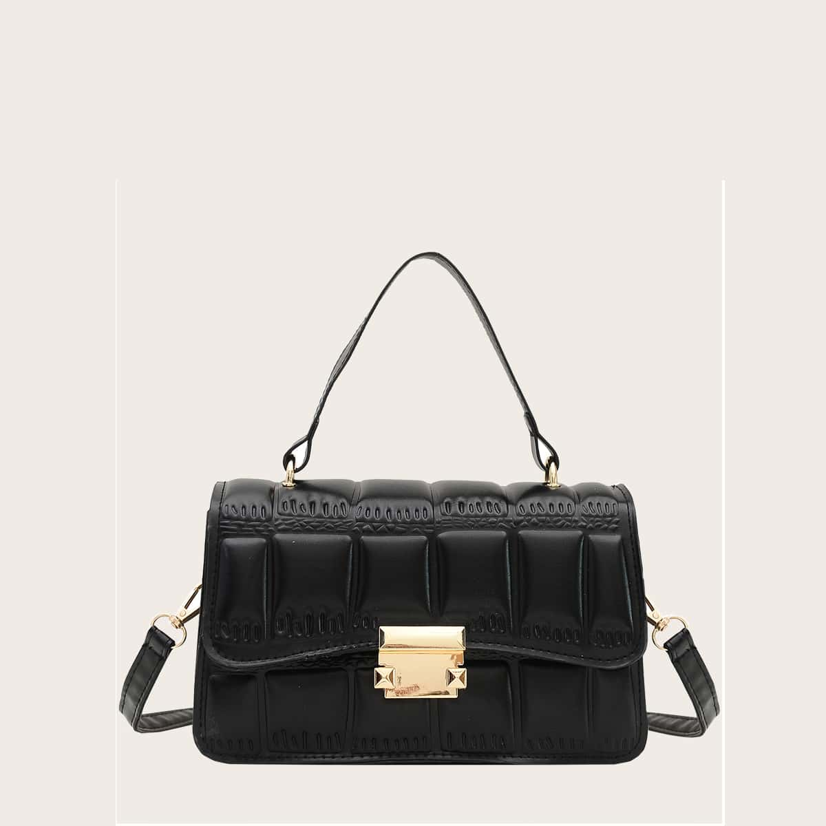 SHEIN / Textured Push Lock Satchel Bag