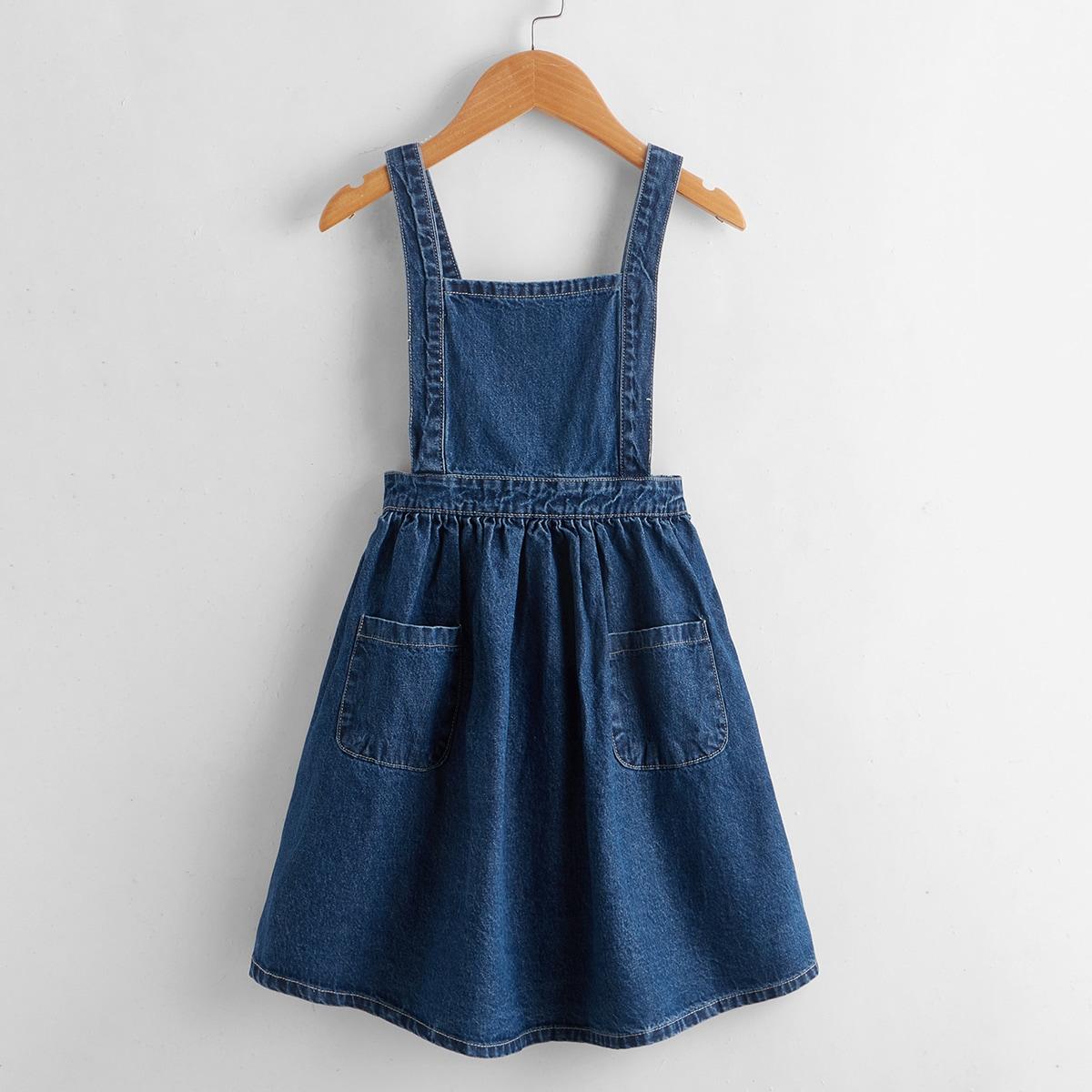 с карманами Одноцветный Повседневный Джинсовые платья для девочек SheIn skdress03210324621