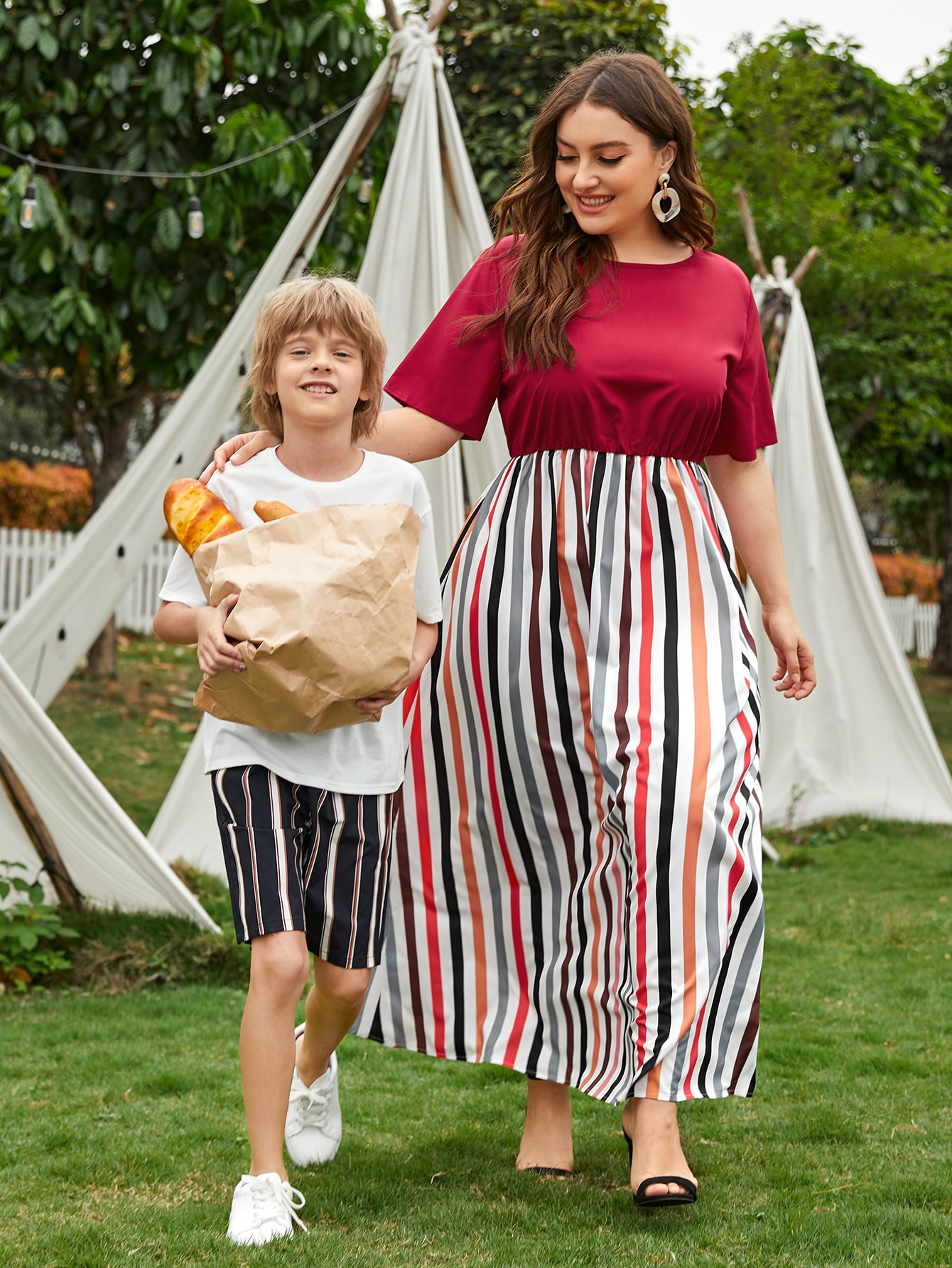 plus 1pc high waist stripe dress