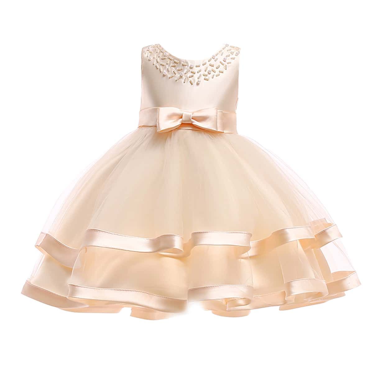 Girls Layered Hem Pearls Front Gown Dress