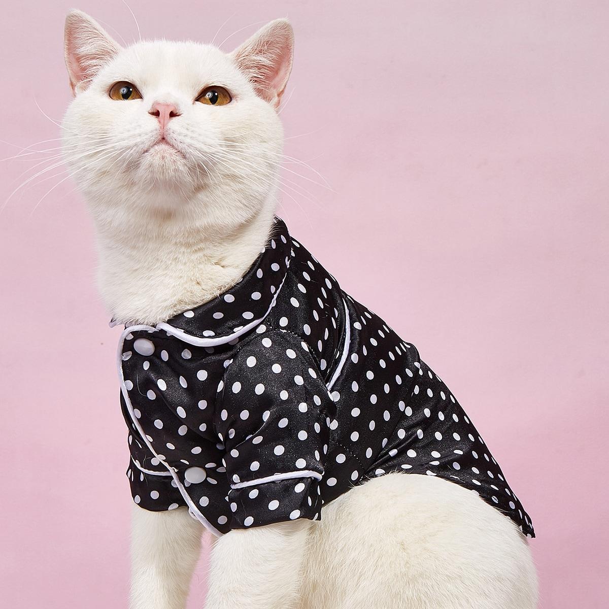 Polka Dot Pattern Pet Shirt, SHEIN  - buy with discount
