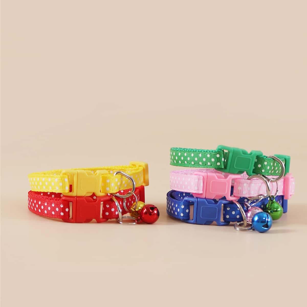 1 Stück Zufällige Farbe Haustierhalsband mit Punkten Muster