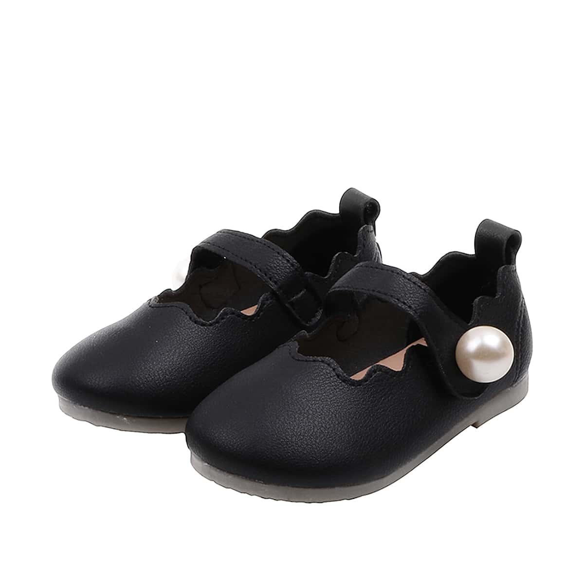 Туфли на плоской подошве с искусственным жемчугом и стразами для девочек от SHEIN