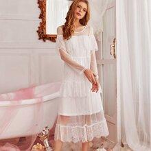 Contrast Ruffle Hem Lace Night Dress