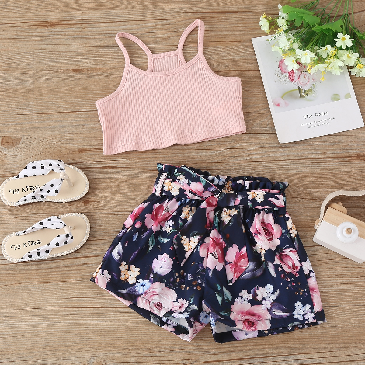 Toddler Girls Ribbed Cami Top & Floral Print Belted Shorts