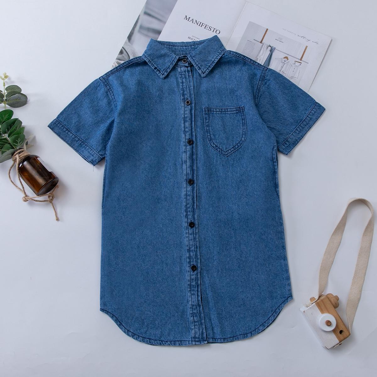 Джинсовое платье с карманом и пуговицами для девочек SheIn skdress25210329993