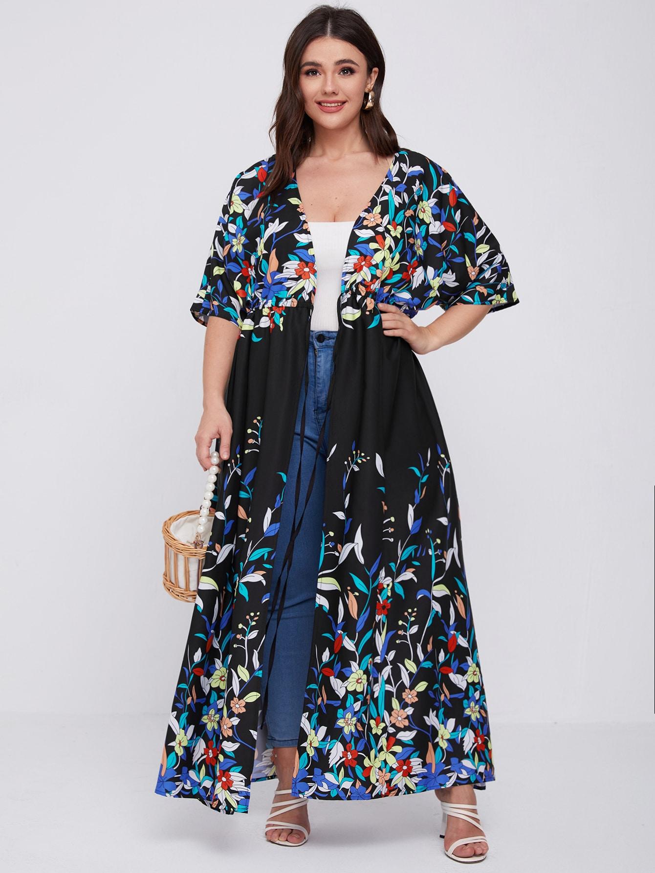 Plus Floral Print Knot Front Kimono