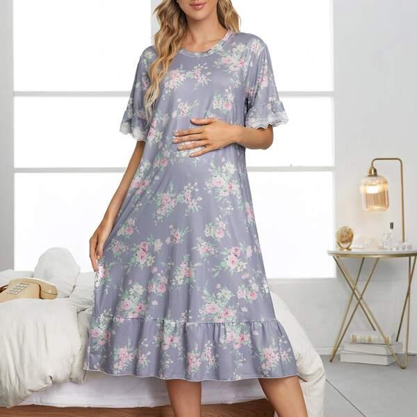 Maternity Floral Lace-cuff Ruffle Hem Lounge Dress, Multicolor