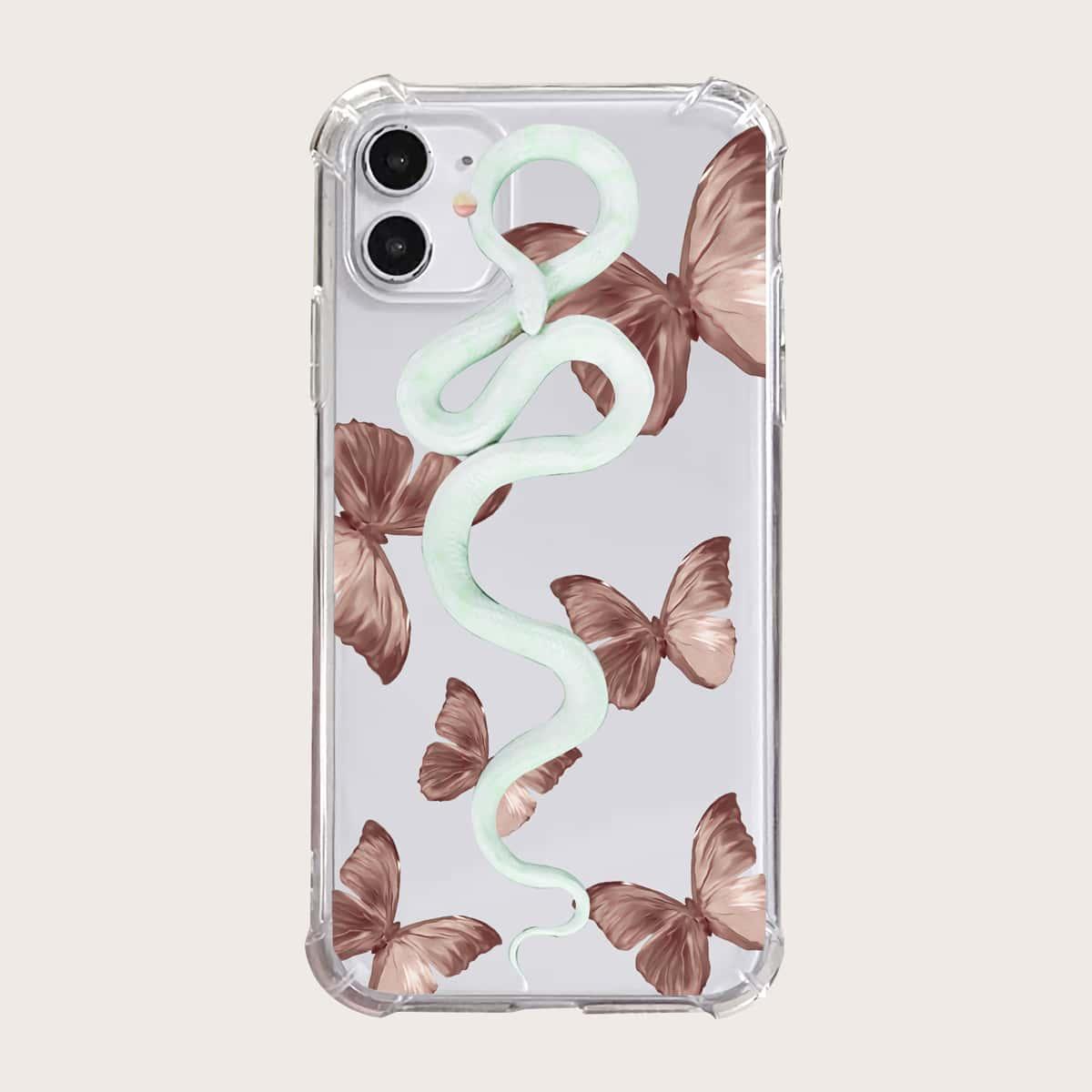 Coque de téléphone transparente à imprimé serpent et papillon