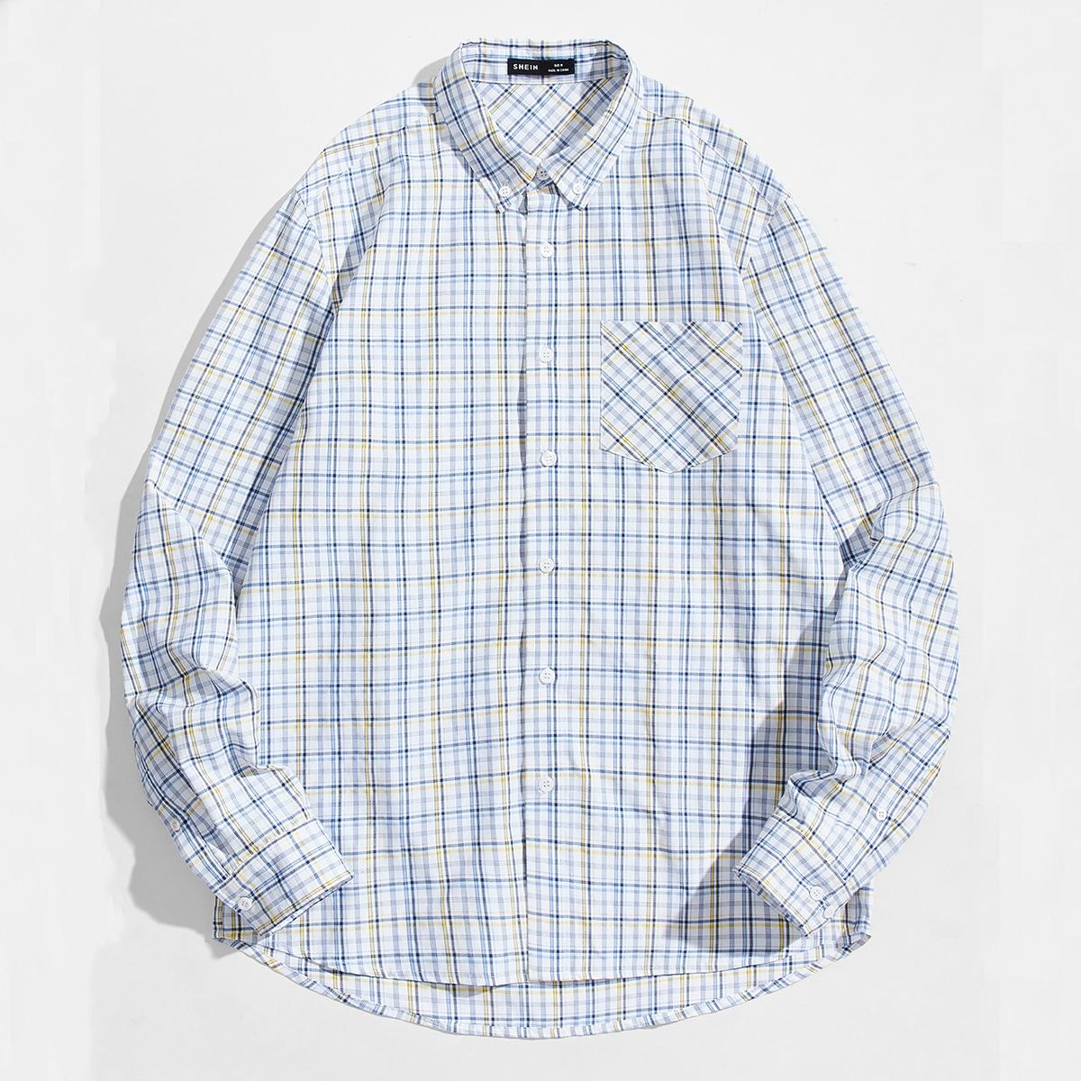 Карман Клетчатый Институтский Мужские рубашки SheIn smshirt07210320733