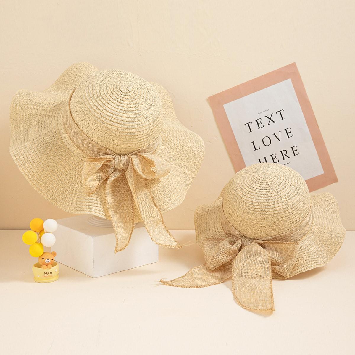 2pcs Parent-Toddler Girls Bow Tie Sun Hat