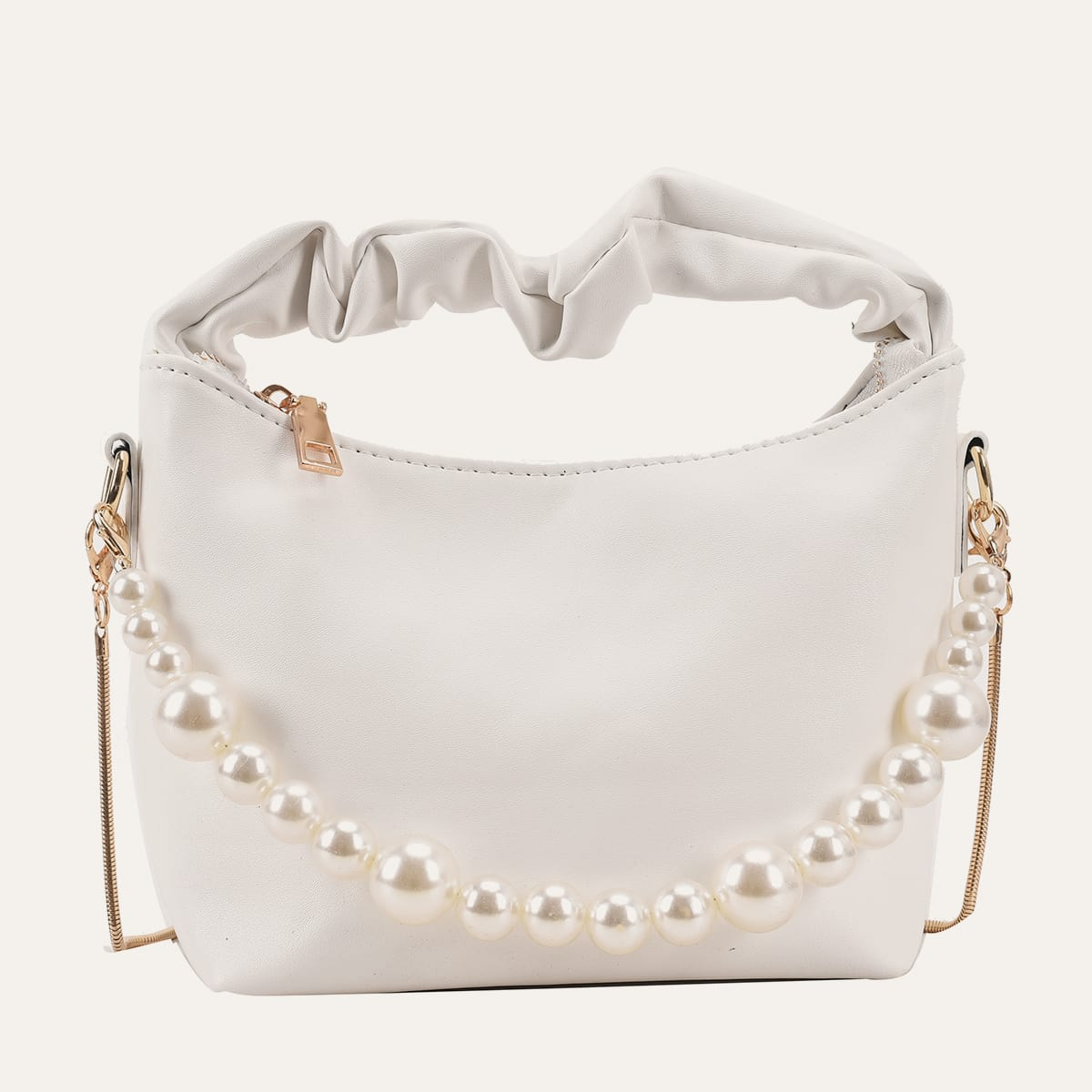 SHEIN / Faux Pearl Decor Ruched Handle Bucket Bag