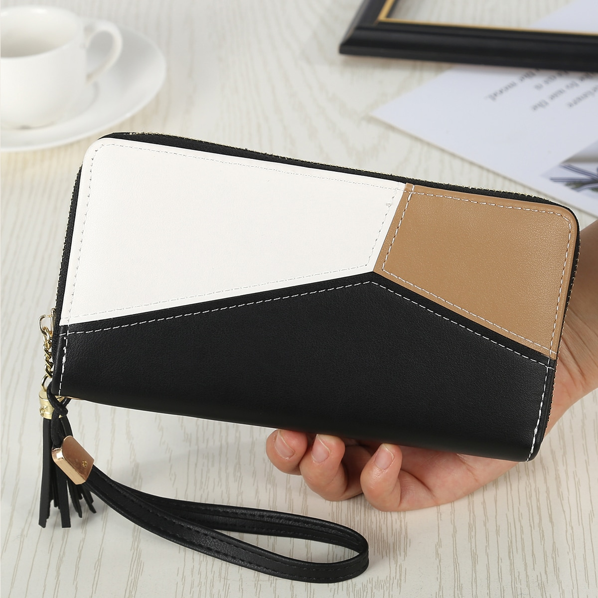 Color Block Long Wallet With Wristlet, SHEIN  - buy with discount