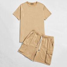 Guys Drop Shoulder Solid Top & Drawstring Waist Flap Pocket Shorts Set