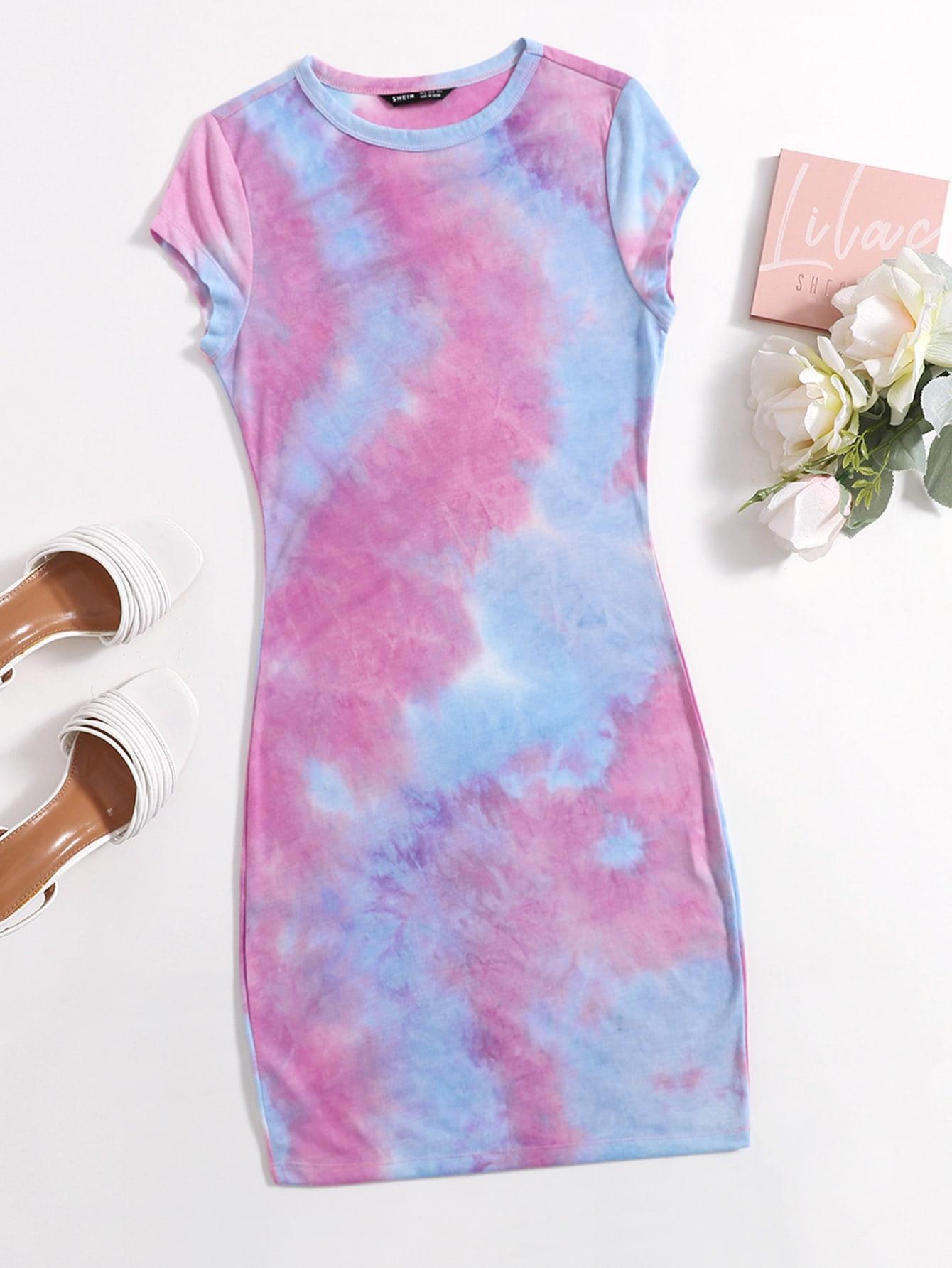 cap sleeve tie dye bodycon dress