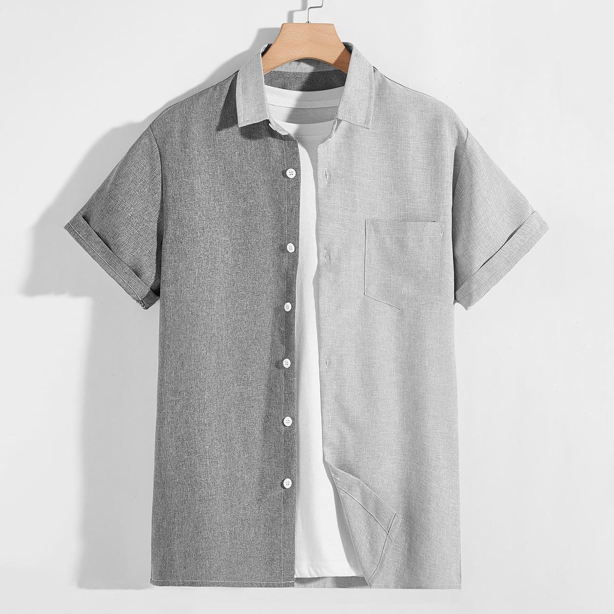 Мужской Рубашка комбинированным принтом на пуговицах