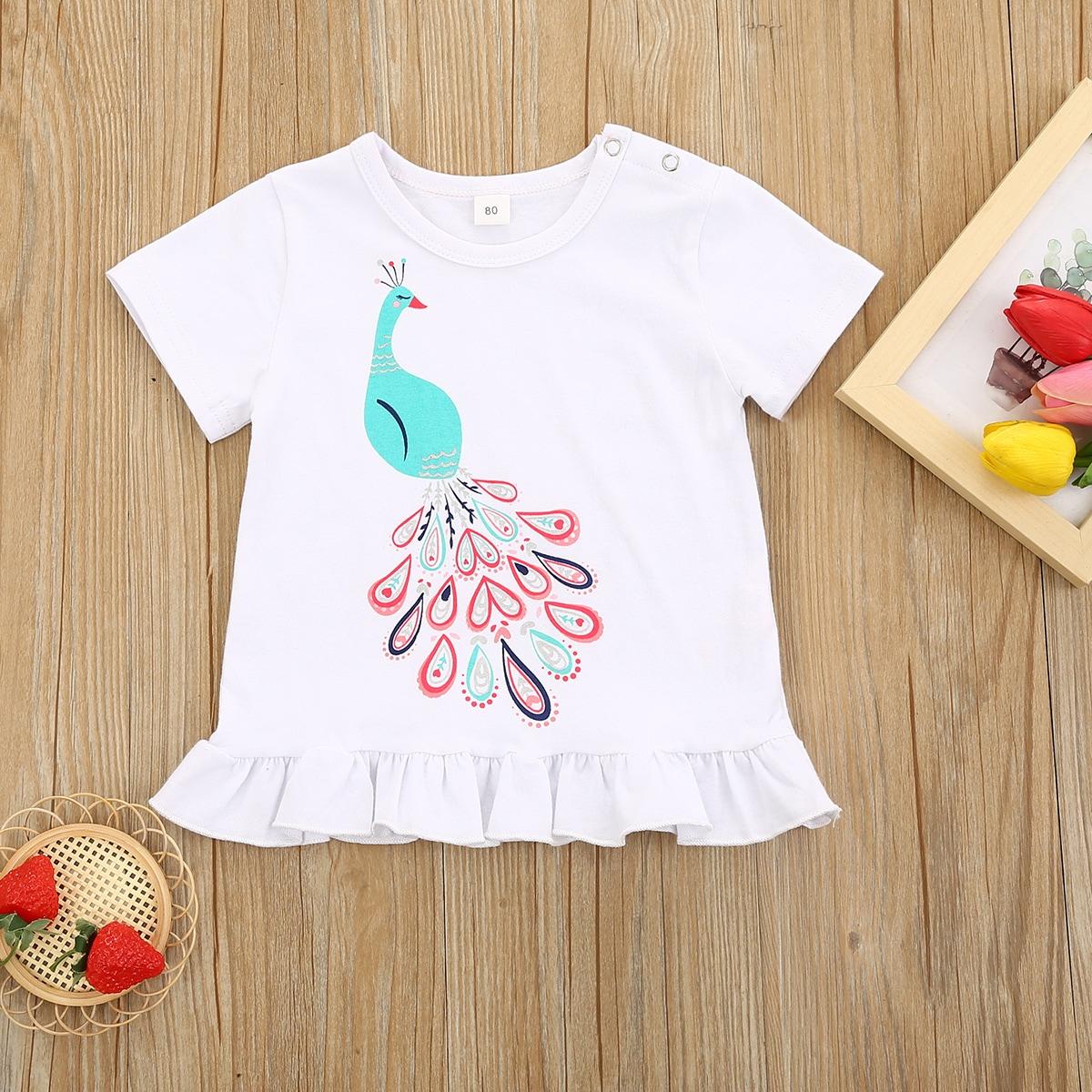 T-Shirt mit Karikatur Grafik und Rüschenbesatz