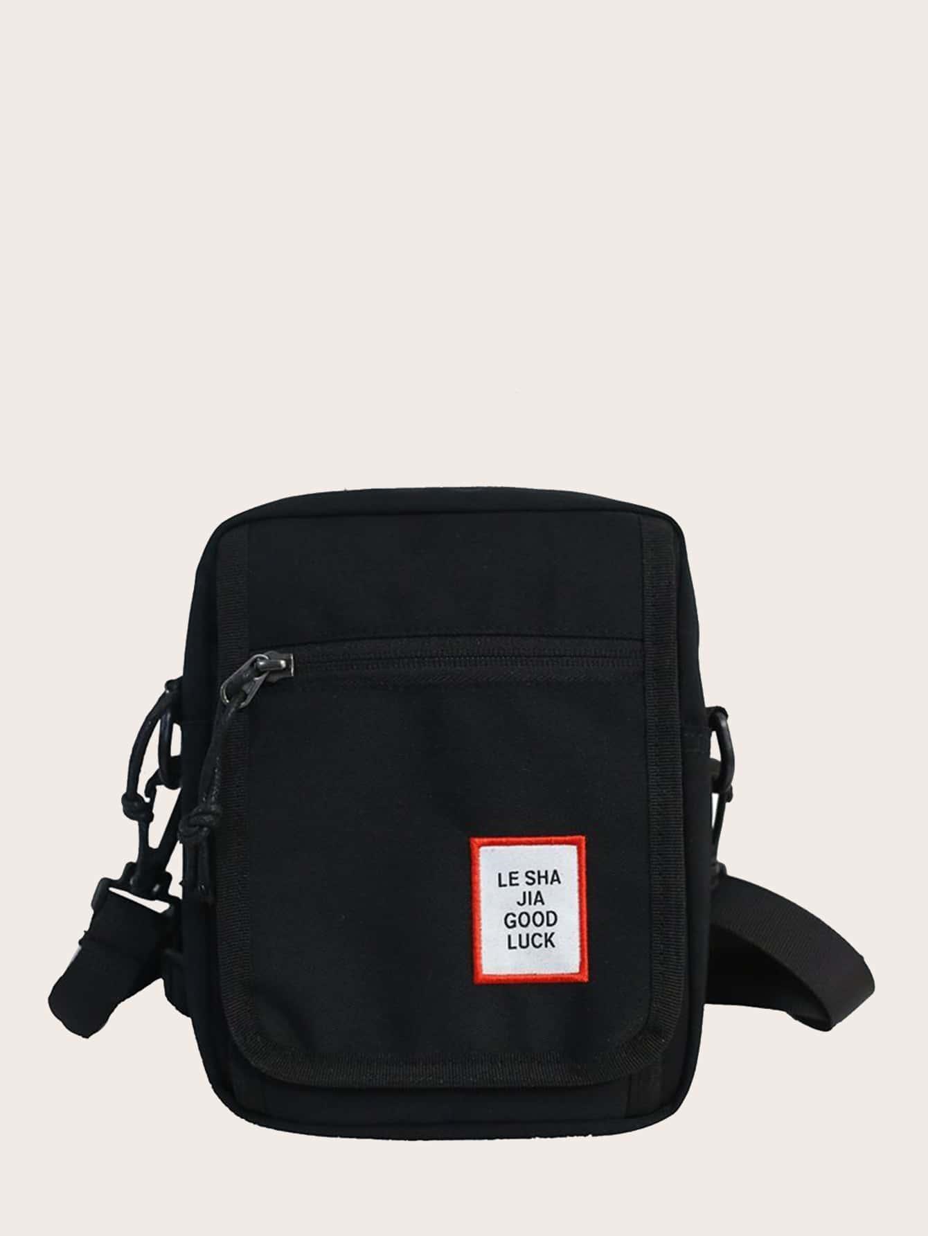 letter patch crossbody bag