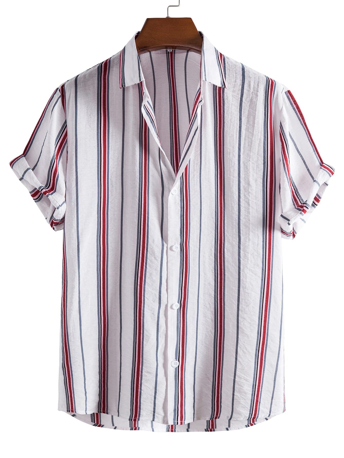 men striped print shirt