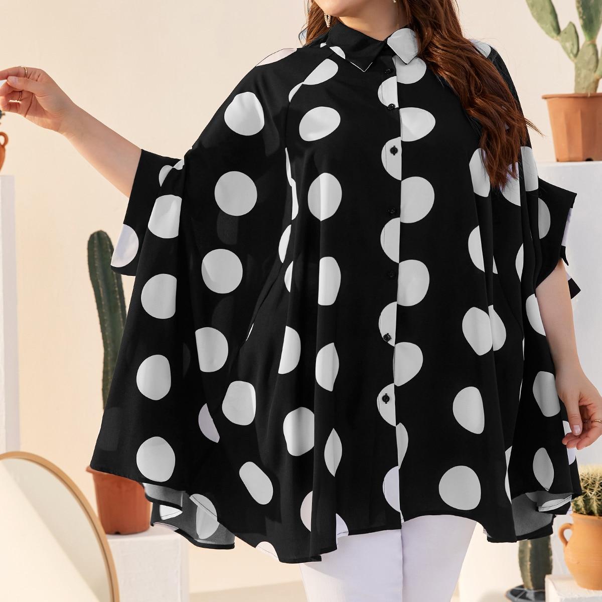 Рубашка в горошек с пуговицами размера плюс