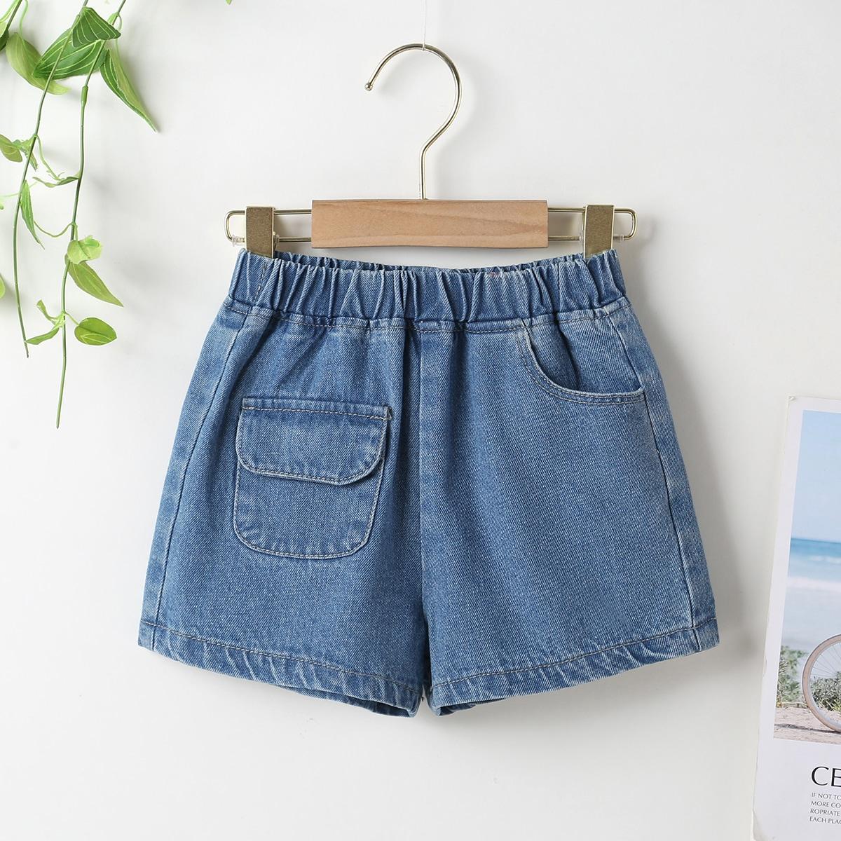 Toddler Girls Elastic Waist Flap Pocket Denim Shorts