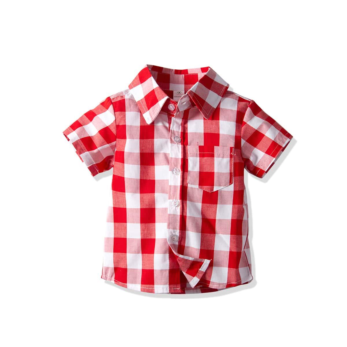 Hemd mit Gingham Muster und Taschen Flicken