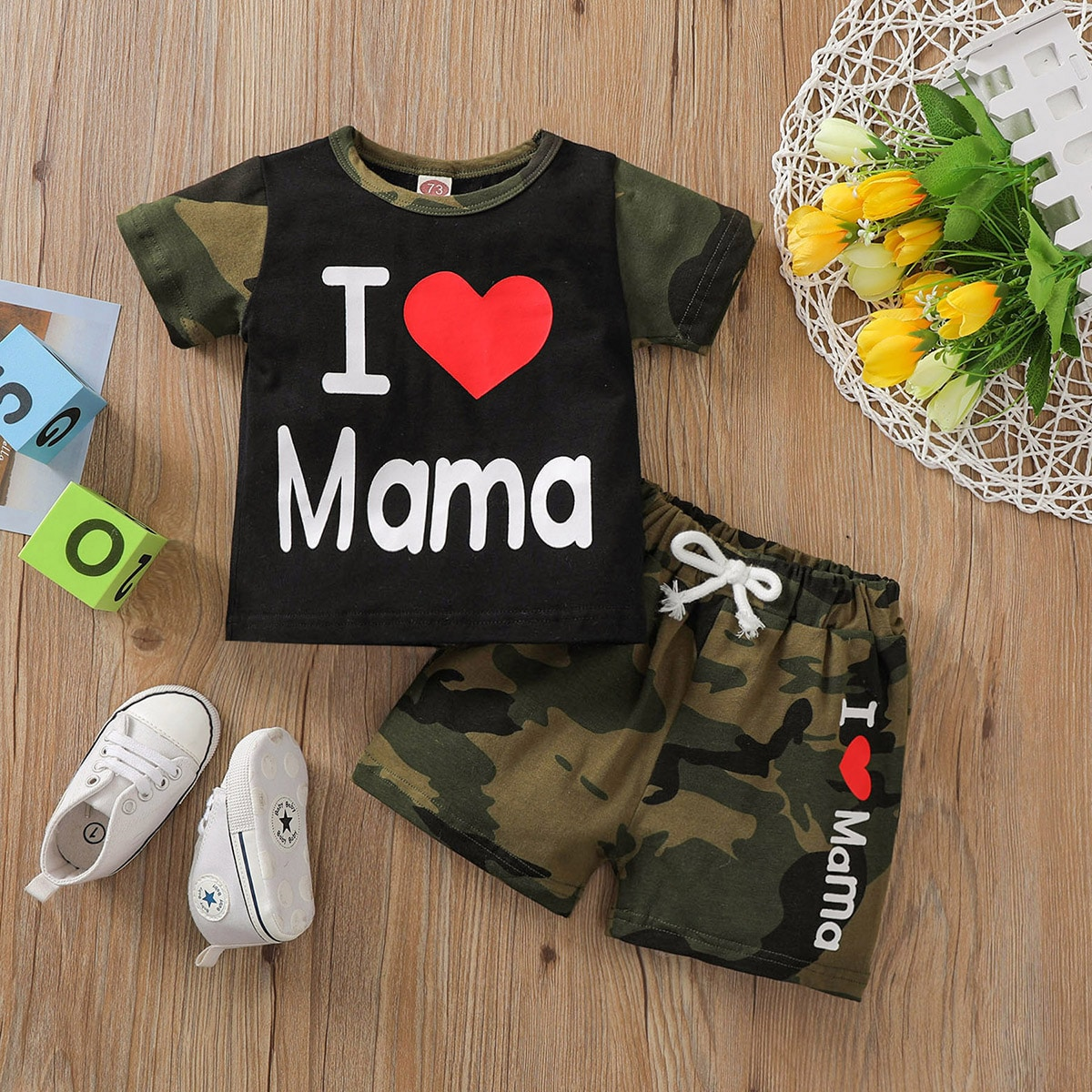 SHEIN Casual Camouflage Baby-setjes Geknoopt