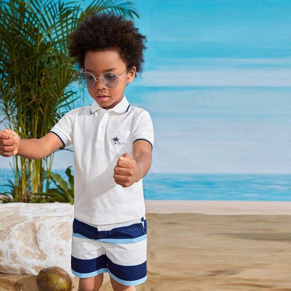 Рубашка-поло с вышивкой и шорты в полоску для мальчиков, Синий и белый