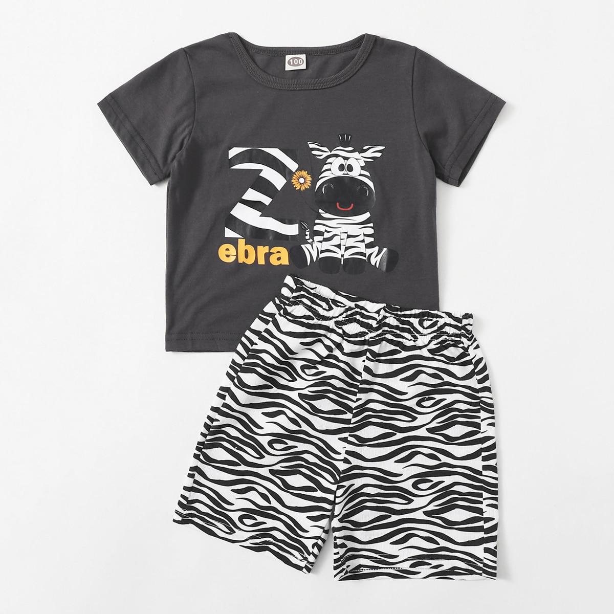 Пижама с принтом зебры для мальчиков