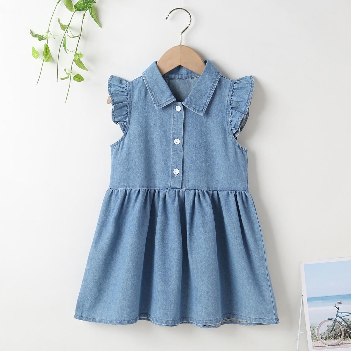 Джинсовое платье с оборкой для девочек SheIn skdress03210317419