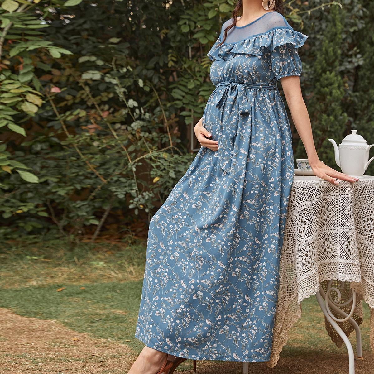 Maternity Mesh Yoke Ruffle Trim Belted Ditsy Floral Dress