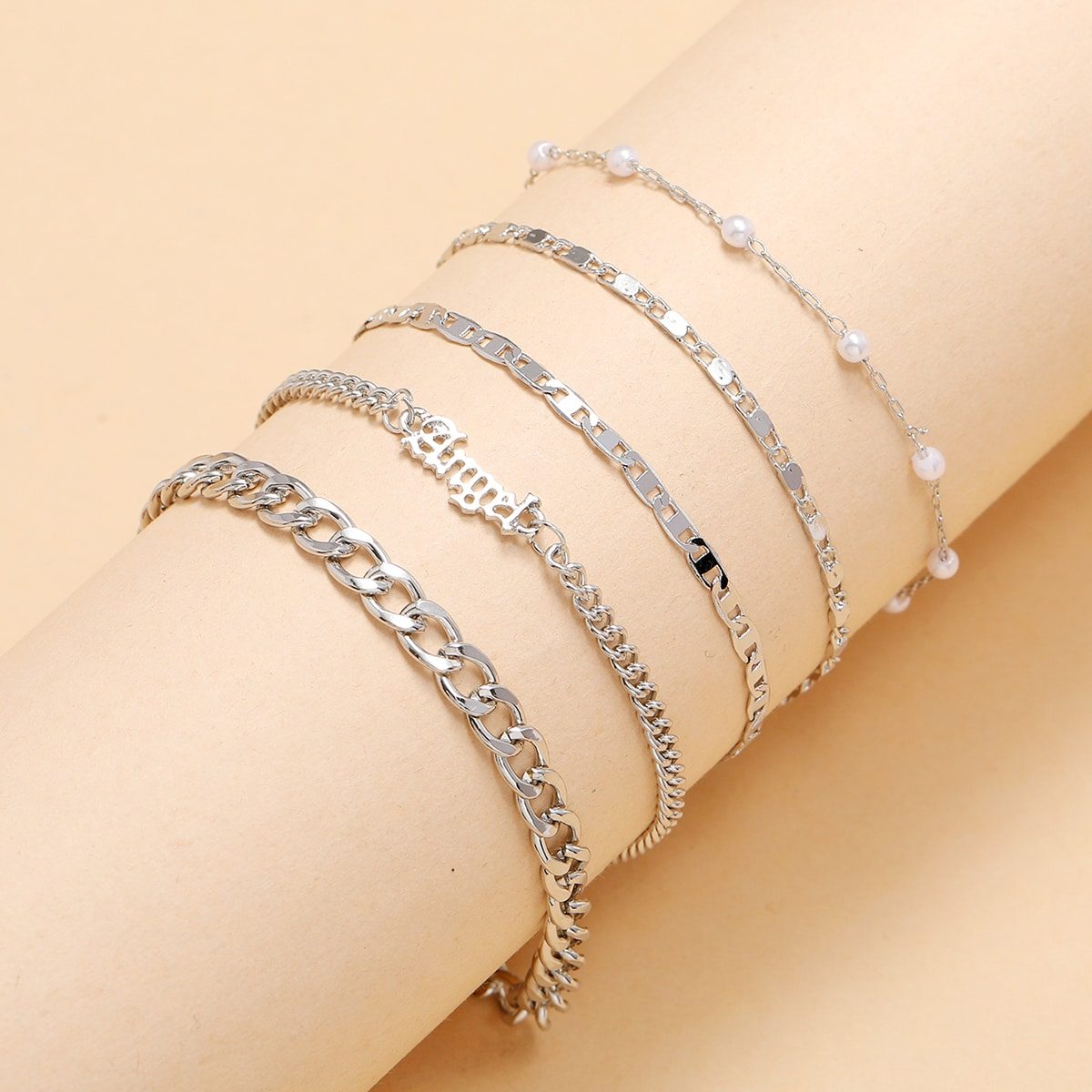5pcs Letter & Faux Pearl Decor Bracelet