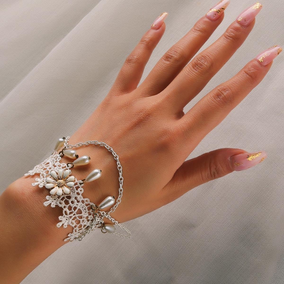 Bracelet à fleur à perle