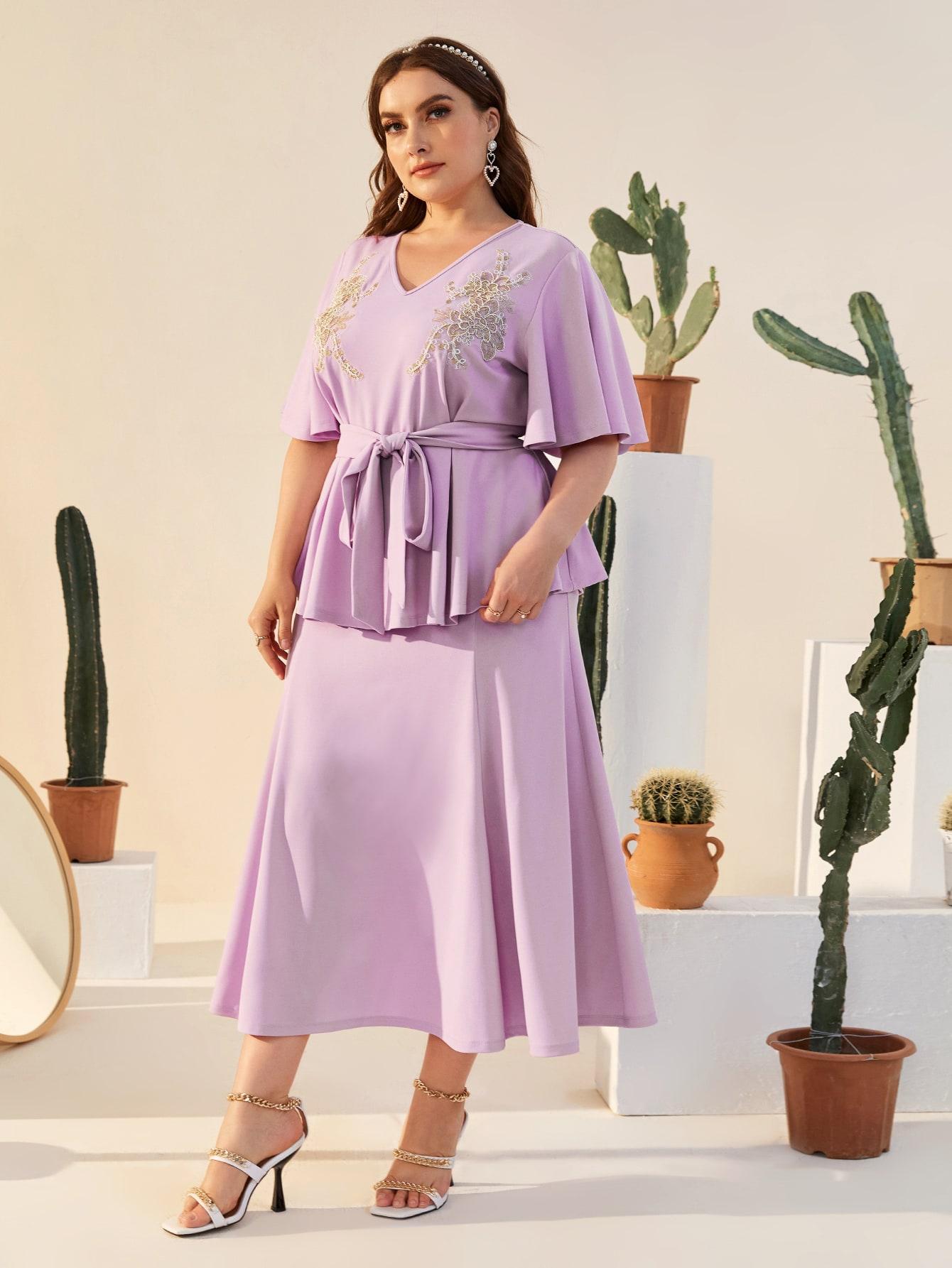 Plus Butterfly Sleeve Applique Detail Belted Peplum Top & Skirt Set