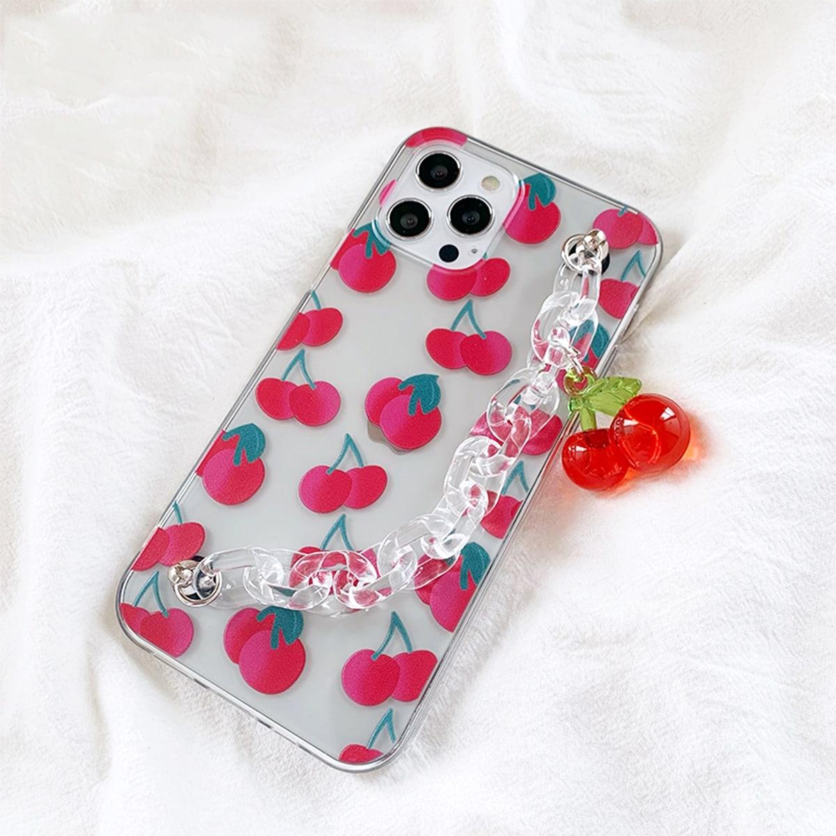 Cherry Print Hand Strap Clear Phone Case
