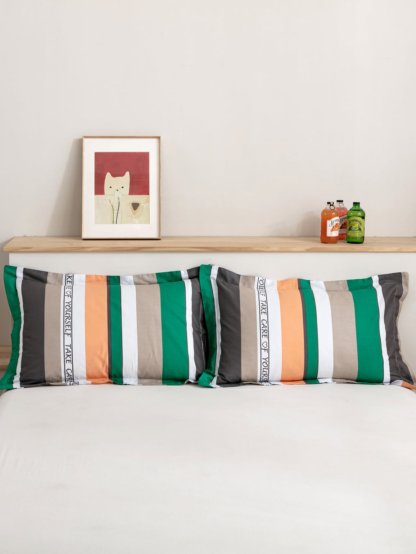 1Pair Striped Pattern Pillowcase Without Filler