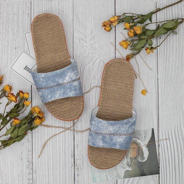 Stitch Detail Slides, Baby blue