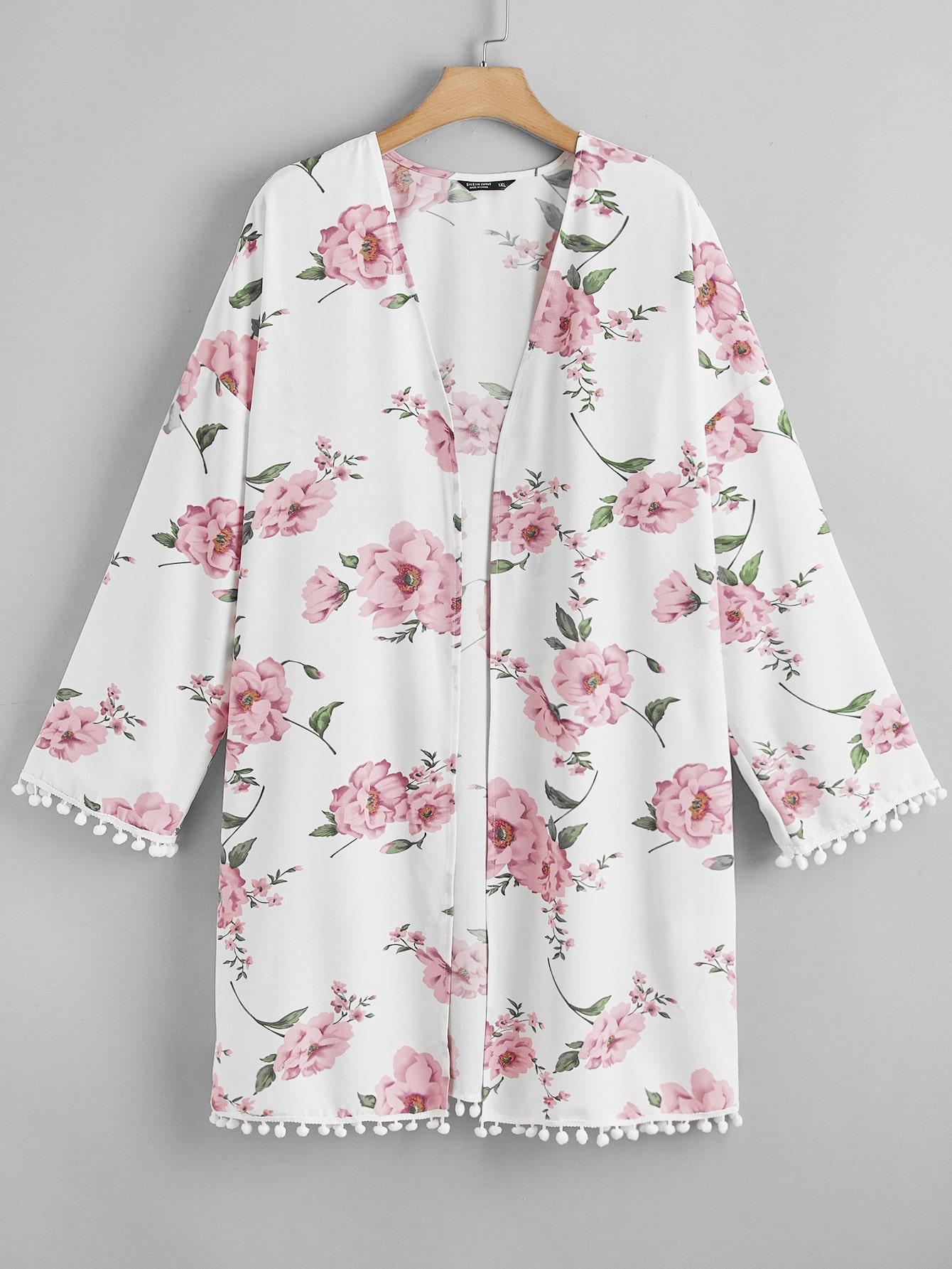 Plus All Over Floral Print Drop Shoulder Kimono