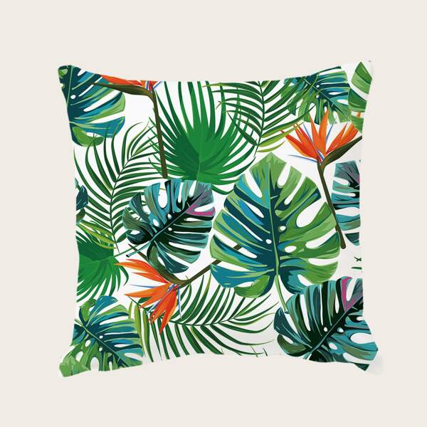 Tropical Leaf Print Cushion Cover Without Filler, Multicolor