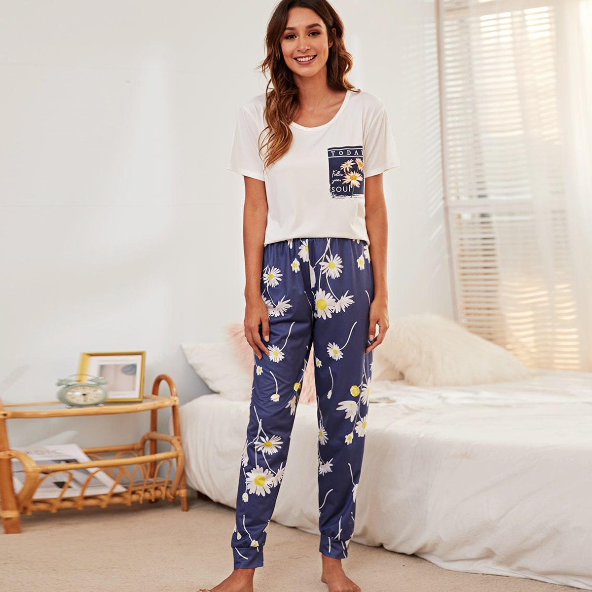 Letter & Floral Print Pajama Set
