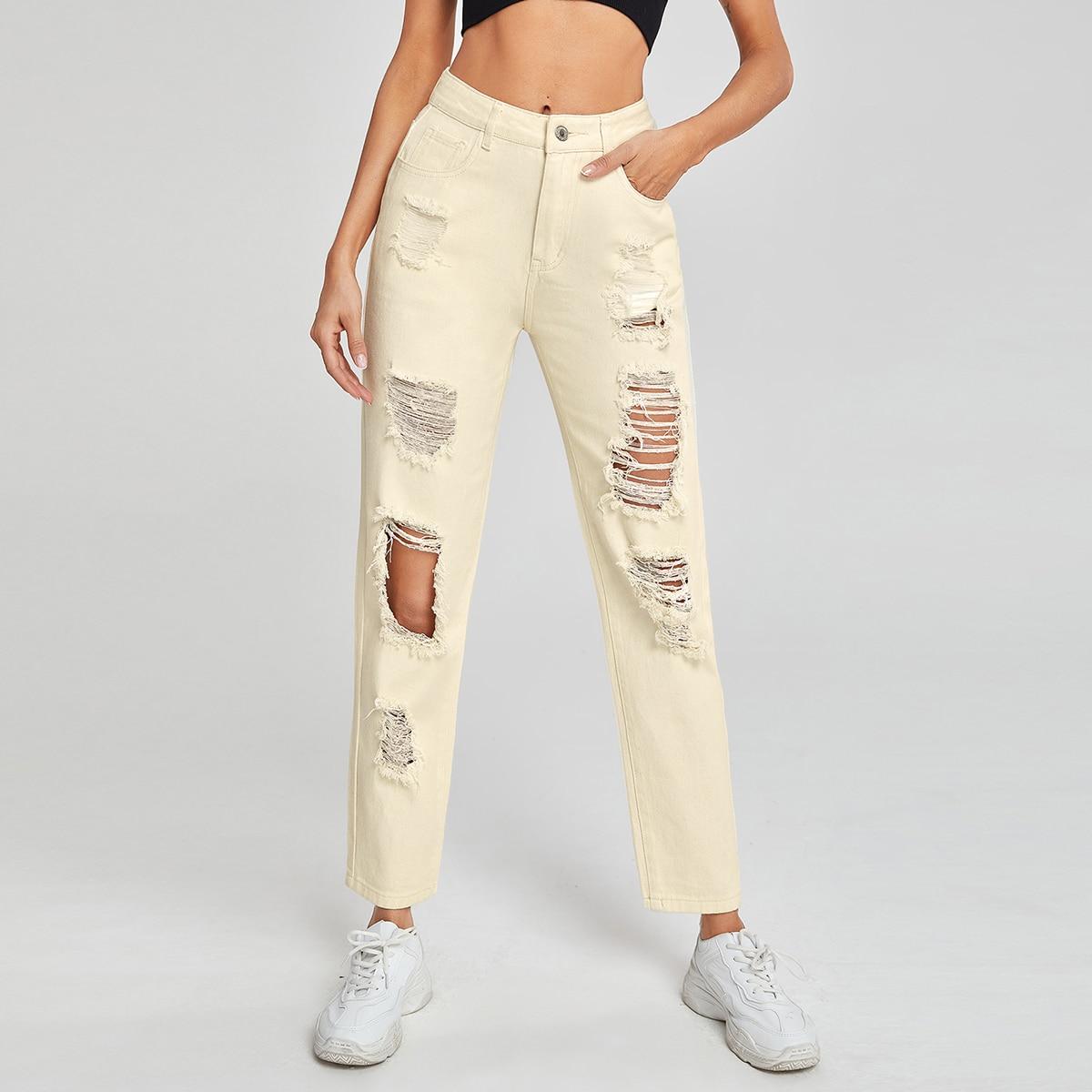 SHEIN Vlak Jeans Knoop