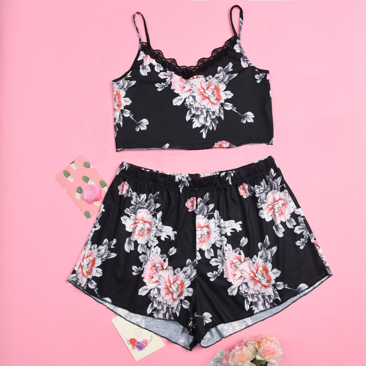 SHEIN Sexy Bloemen Grote maten pyjama sets Contract kant