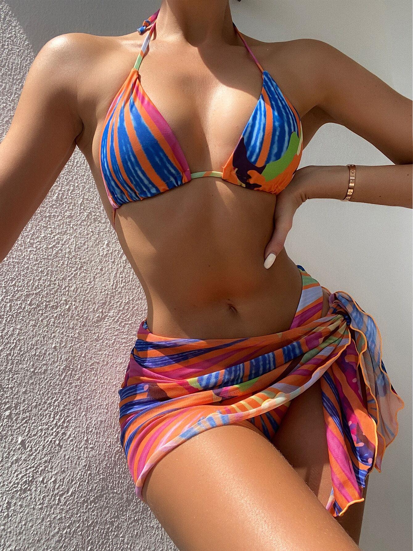 3pack Allover Graphic Halter Bikini Swimsuit & Beach Skirt