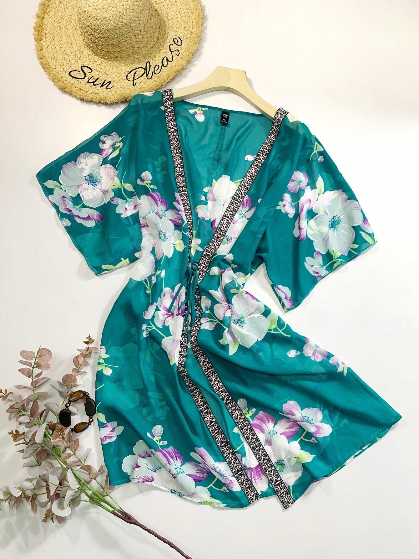 Plus Floral Print Tie Front Kimono