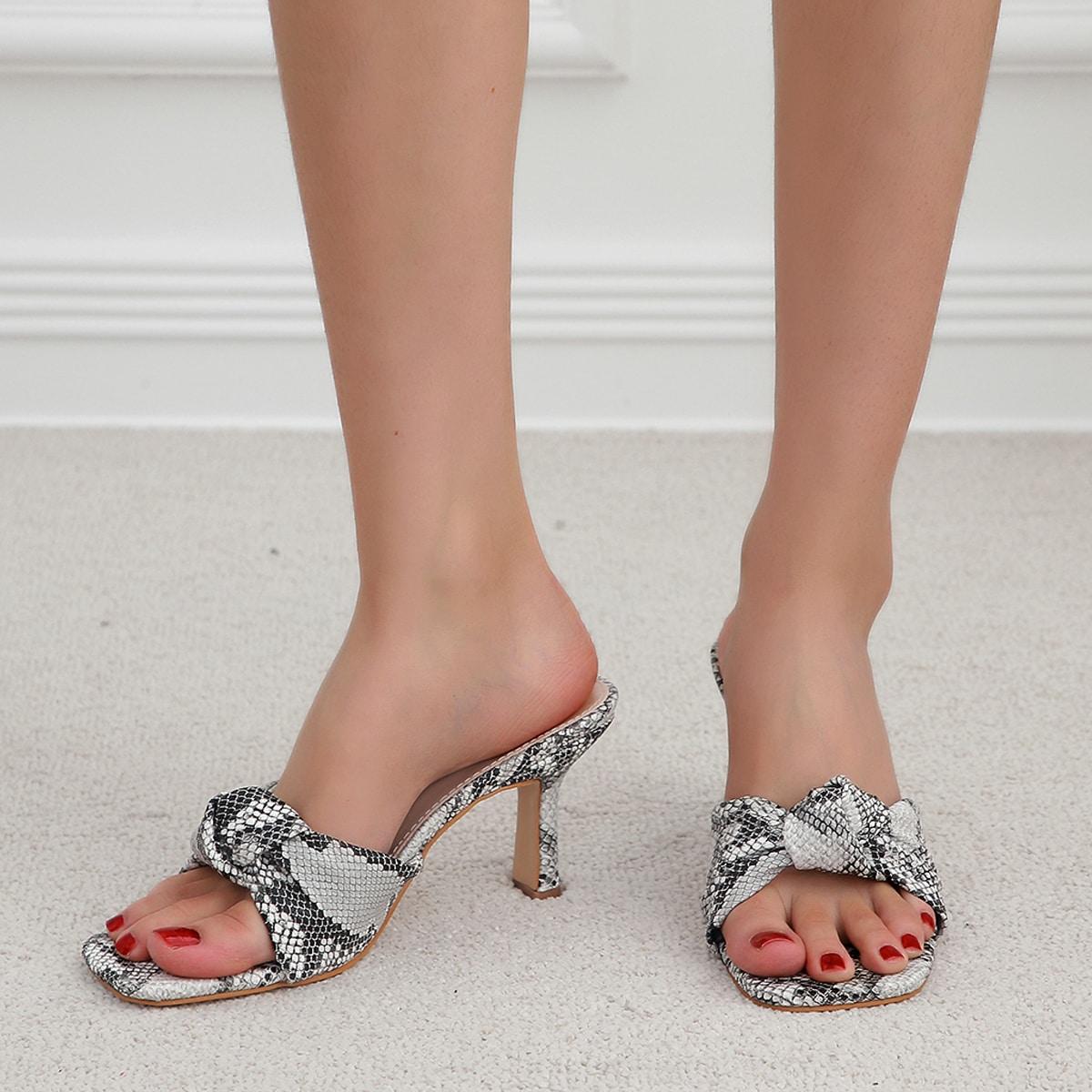 Snakeskin Print Knot Design Sandal Mules