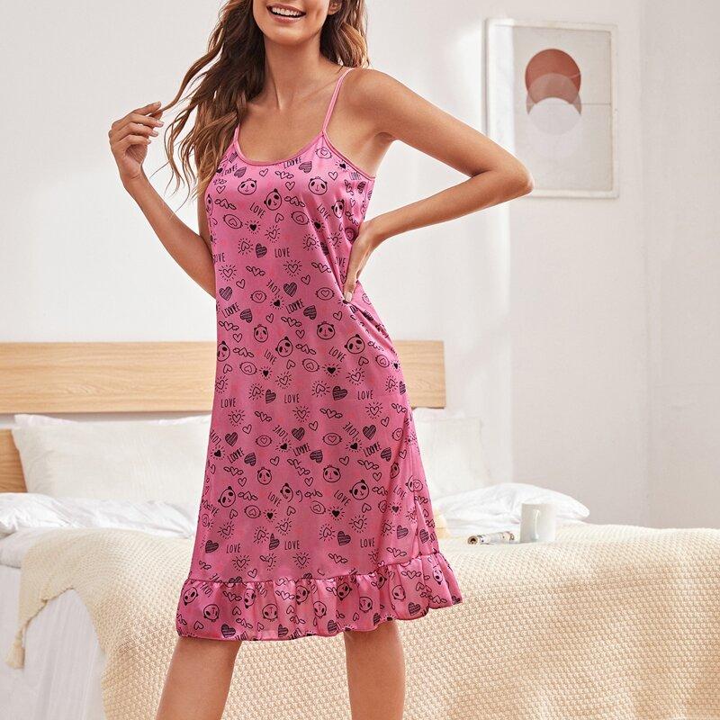 Heart And Panda Print Cami Nightdress, Pink