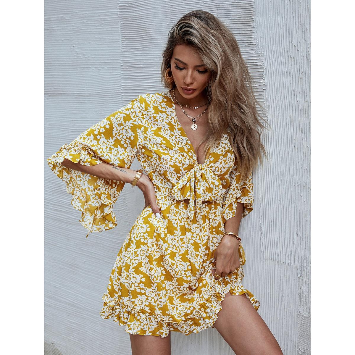 All Over Floral Print Ruffle Hem Flounce Sleeve Dress